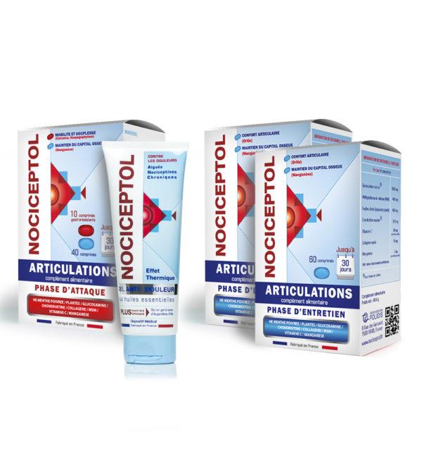 boites de Nociceptol phase d'attaque, phase d'entretien et tube gel anti-douleur